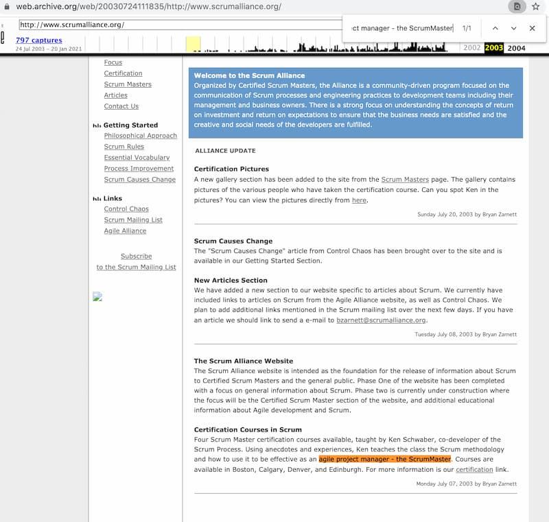 Screenshot Scrum Alliance® Webseite 2013