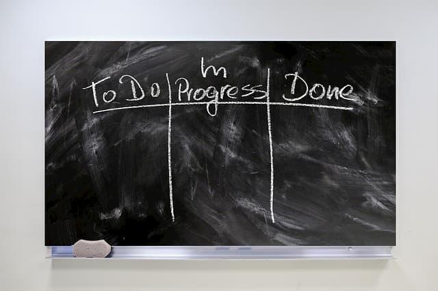 In Umgangsprache als Kanban-Board bezeichnete Tafel, zählt heutzutage nicht mehr als Kanban-Board.